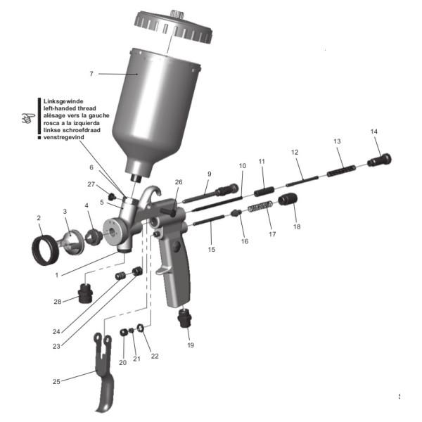 Ersatzteile Walther Pilot Iii F Spritzpistole Mit Fliessbecher 1 98